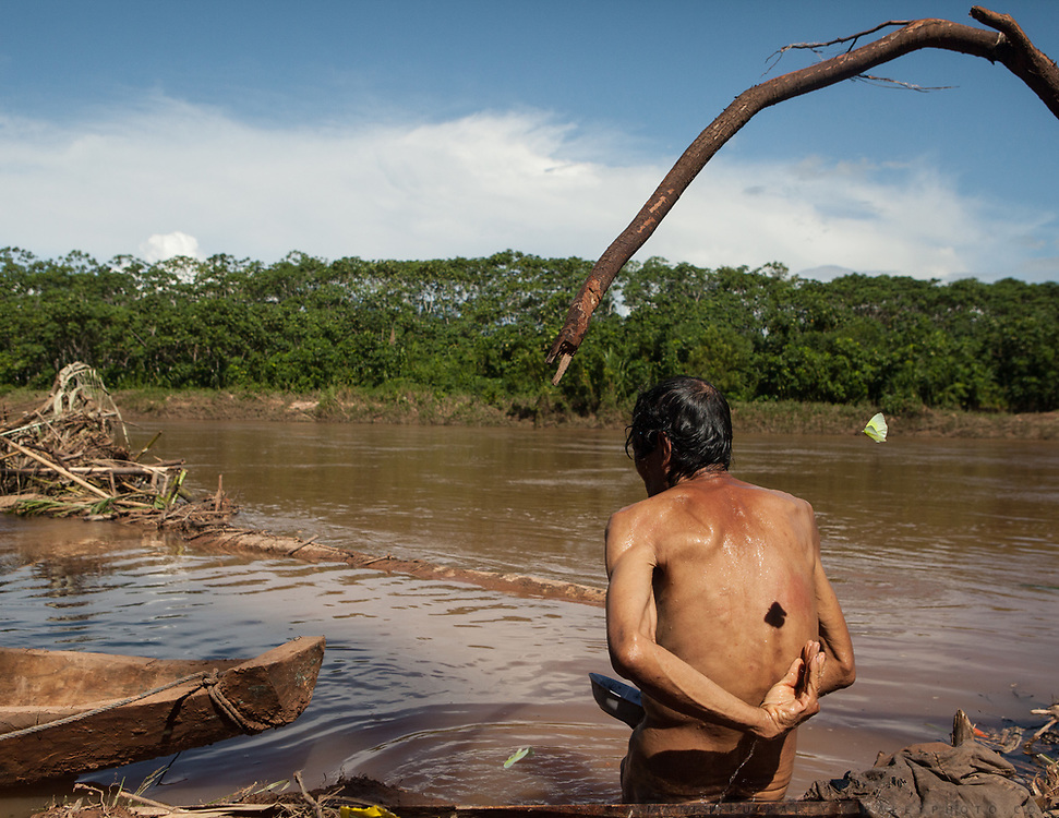 Jose (75), the oldest man in Anachere, is washing by the Maniqui river, yellow butterflies flying around him. The average Body Mass Index of male adult of the Tsimane, a hunter-gatherer community, is 23.5.