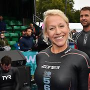 Gail Emms is a English badminton player feeling a bit nervous Swim Serpentine 2018, London, UK. 22 September 2018.