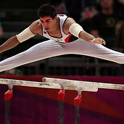 Daniel Corral Barron, Mexico, in action in the Men's Parallel Bars Final at North Greenwich Arena during the London 2012 Olympic games London, UK. 7th August 2012. Photo Tim Clayton