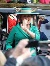 Sarah Ferguson arrives for the wedding of Princess Eugenie to Jack Brooksbank at St George's Chapel in Windsor Castle.