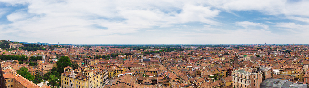 Panoramic view of the southeast of the city of Verona from the Lamberti tower during the day