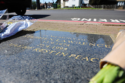 © Licensed to London News Pictures.19/04/2018<br /> ELTHAM, UK.<br /> Stephen Lawrence memorial in Well Hall Road.<br /> Stephen Lawrence, 25th anniversary of his murder in Well Hall Road in Eltham is on 22nd April this Sunday.<br /> Photo credit: Grant Falvey/LNP