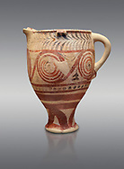 Cycladic spouted cup with floral and net pattern.   Cycladic (1650-1450 BC) , Phylakopi III, Melos. National Archaeological Museum Athens. Cat no 5755.   Grey background.<br /> <br /> <br /> Ceramic shapes and painted style are heavily influenced by Minoan styles during this period. Dark floral and spiral patterns are painted over a lighted backgound with wavy bands. .<br /> <br /> If you prefer to buy from our ALAMY PHOTO LIBRARY  Collection visit : https://www.alamy.com/portfolio/paul-williams-funkystock/cycladic-art-artefacts.html Type into the LOWER SEARCH WITHIN GALLERY box to refine search by adding background colour, place, museum etc<br /> <br /> Visit our CYCLADIC CIVILISATIONS PHOTO COLLECTIONS for more photos to download or buy as wall art prints https://funkystock.photoshelter.com/gallery-collection/Cycladic-civilisation-Ancient-Greek-Artefacts-art-Photos-Pictures-Images/C0000CmevVvnC.XU