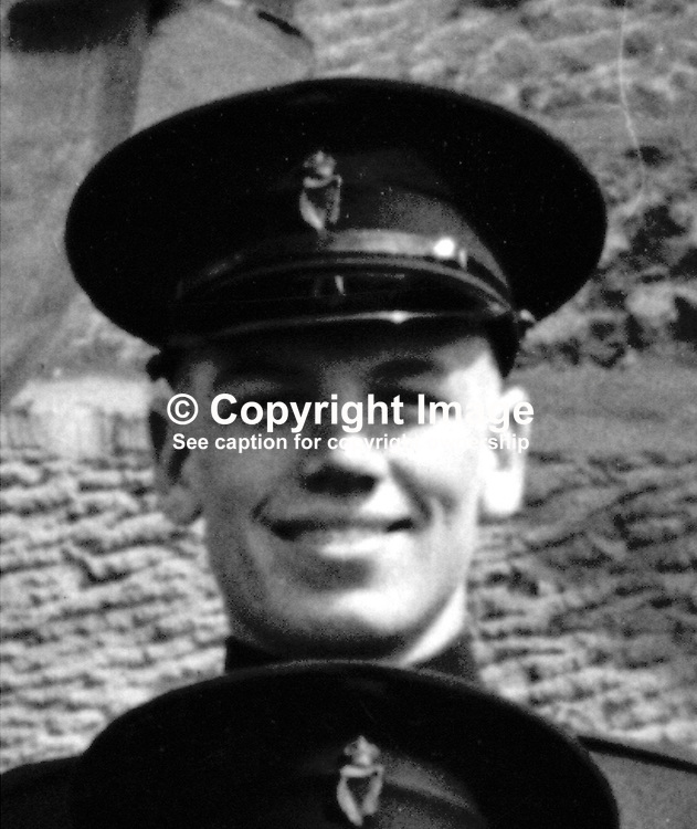 Ronald Dodd, RUC, shot dead by sniper, near Toome, Co Londonderry, N Ireland, on 27th October 1971. This photo was taken whilst Dodd was training as a policeman in 1955. 19550124001RD<br /> <br /> Copyright Image from Victor Patterson, Belfast, UK<br /> <br /> t: +44 28 9066 1296 (from Rep of Ireland 048 9066 1296)<br /> m: +44 7802 353836<br /> e: victorpattersonbelfast@gmail.com<br /> <br /> www.images4media.com<br /> <br /> Please see my full Terms and Conditions of Use at https://www.images4media.com/p/terms-conditions - it is IMPORTANT that you familiarise yourself with them.<br /> <br /> Images used online incur an additional cost. This cost should be agreed in writing in advance. Online images must be visibly watermarked i.e. © Victor Patterson or that of the named photographer within the body of the image. The original metadata must not be deleted from images used online.<br /> <br /> This image is only available for the use of the download recipient i.e. television station, newspaper, magazine, book publisher, etc, and must not be passed on to a third party. It is also downloaded on condition that each and every usage is notified within 7 days to victorpattersonbelfast@gmail.com.<br /> <br /> The right of Victor Patterson (or the named photographer) to be identified as the author is asserted in accordance with The Copyright Designs And Patents Act (1988). All moral rights are asserted.