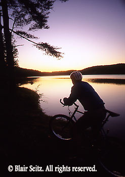 PA landscapes Bicycling, Young Male, PA Lake Sunset
