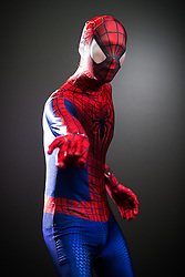 © Licensed to London News Pictures . 26/07/2015 . Manchester , UK . Portrait : SPIDERMAN ( Quan Lieu , 21 , from Stoke-on-Trent ) at the venue . Comic Con convention at Manchester Central Convention Centre . Photo credit : Joel Goodman/LNP