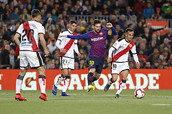 March 9, 2019 - Barcelona, Catalonia, Spain - Rayo Vallecano midfielder Alvaro Garcia (18), Rayo Vallecano midfielder Santi Comesana (27) and FC Barcelona forward Lionel Messi (10) during the match FC Barcelona v Rayo Vallecano, for the round 27 of La Liga played at Camp Nou  on 9th March 2019 in Barcelona, Spain. (Credit Image: © Mikel Trigueros/NurPhoto via ZUMA Press)