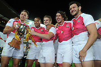 England players celebrate after they defeated Kenya in the final at the IRB International Rugby Sevens, Westpac, Wellington, New Zealand, Saturday, February 02, 2013. Credit:SNPA / Ross Setford