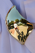Members of the Citadel Military College corps of cadets are reflected in a polished brass buckle during the first Friday Dress Parade on September 6, 2013 in Charleston, South Carolina. The Friday Dress Parade is a tradition at the Citadel going back to 1843.