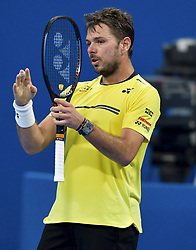 Stan Wawrinka of Switzerlan reacts during his game against Roberto Bautista Agut of Spain at the Quarter - Final of ATP Qatar Open Tennis match at the Khalifa International Tennis Complex in Doha, capital of Qatar, on January 03, 2019. Roberto Bautista Agu won 2-0  (Credit Image: © Yangyuanyong/Xinhua via ZUMA Wire)