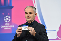 NYON, SWITZERLAND - Monday, December 14, 2020: Special guest Stéphane Chapuisat draws out Liverpool FC during the UEFA Champions League 2020/21 Round of 16 draw at the UEFA Headquarters, the House of European Football. (Photo Handout/UEFA)