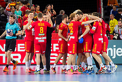 Macedonian players celebrate during handball match between National teams of Germany and Macedonia on Day 5 in Preliminary Round of Men's EHF EURO 2018, on January 17, 2018 in Arena Zagreb, Zagreba, Croatia. Photo by Ziga Zupan / SportidaMacedonian players celebrate during during handball match between National teams of Germany and Macedonia on Day 5 in Preliminary Round of Men's EHF EURO 2018, on January 17, 2018 in Arena Zagreb, Zagreb, Croatia. Photo by Ziga Zupan / Sportida