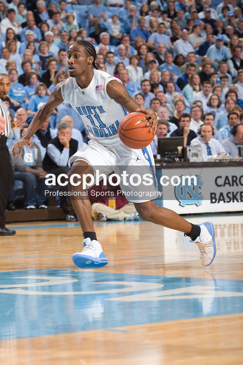 10 February 2008: North Carolina Tar Heels guard Quentin Thomas (11) during a 93-103 (2OT) win over the Clemson Tigers at the Dean Smith Center in Chapel Hill, NC.