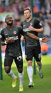 Igor Vetokele of Charlton Athletic celebrates with team mate Simon Church after scoring a last min equaliser during the Sky Bet Championship match at the John Smiths Stadium, Huddersfield<br /> Picture by Graham Crowther/Focus Images Ltd +44 7763 140036<br /> 23/08/2014