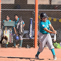 Arianna Begay batting for Turquoise Nation in the first round of the Little League State Softball Tournament at Gallup High School, Friday July 6.