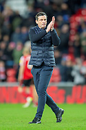 Sunderland AFC manager, Jack Ross applauds the fans after the final whistle of the EFL Sky Bet League 1 match between Sunderland AFC and Luton Town at the Stadium Of Light, Sunderland, England on 12 January 2019.