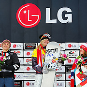 Lindsey Jacobellis (USA), Olivia Nobs (SUI), and Helene Olafsen (NOR) celebrate during the awards ceremony for the Ladies Snowboard-Cross event at the LG Snowboard World Cup held at Cypress Mountain, British Columbia on February 13th, 2009. Mandatory Photo Credit: Bella Faccie Sports Media\Thomas Di Nardo. Contact: Thomas Di Nardo, Snohomish, Washington, USA. Telephone 425-260-8467. e-mail: tom@bellafaccie.com
