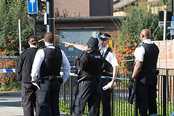 ©Licensed to London News Pictures; 22/09/2021, London UK; Met Detectives launch a murder investigation after a male in his thirties was found with stab injuries on East Ferry road, Isle of dogs in Tower Hamlets, East London. Emergency services were called to a group of males fighting just before 8.30 last night, the victim died at the scene : Photo credit, Steve Poston/LNP