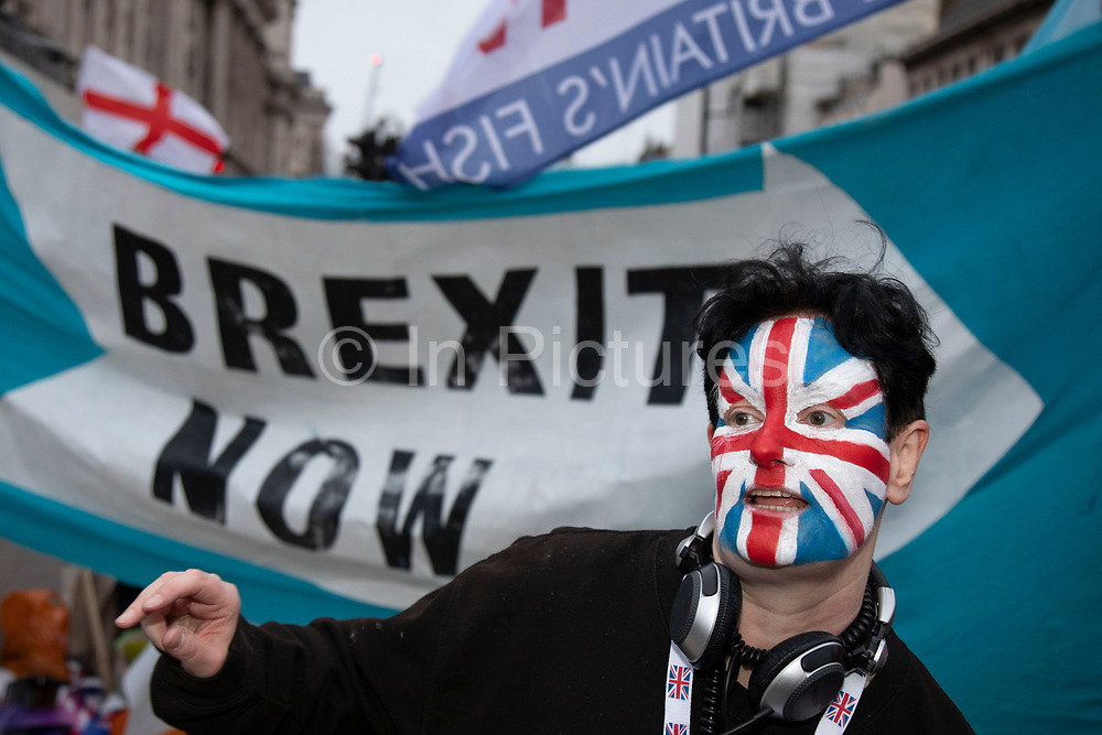 Pro Brexit Leave supporters gather in Westminster on Brexit Day as the UK prepares to leave the European Union on 31st January 2020 in London, England, United Kingdom. At 11pm on Friday 31st January 2020, The UK and N. Ireland will officially leave the EU and go into a state of negotiations as to the future arrangement and trade agreement, while adhering to EU rules until the end of 2020.