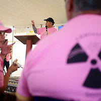 071815       Cable Hoover<br /> <br /> Area resident and rancher Larry King speaks during the annual Churchrock Uranium Tailings Spill Memmorial Saturday in the Red Water Pond community.