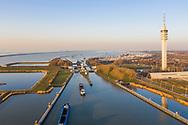 Nederland, Lelystad, 20190227<br /> Sluizencomplex van Lelystad. Voorgrond: Markermeer, achter de sluis het IJsselmeer.<br /> <br /> Foto (c) Michiel Wijnbergh
