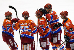 Rok Ticar of Acroni Jesenice, Robert Sabolic of Acroni Jesenicem Mitja Robar of Acroni Jesenice, Douglas Nolan of Acroni Jesenice and Ziga Jeglic of Acroni Jesenice celebrate during  ice-hockey match between HK Acroni Jesenice and EV Vienna Capitals of 44th Round of EBEL league, on January 30, 2011 in Arena Podmezkla, Jesenice, Slovenia. Acroni Jesenice defeated Vienna 4-3. (Photo By Vid Ponikvar / Sportida.com)