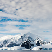 A shot of the scenic mountains of Antarctica along the Gerlache Straight on the western side of the Antarctic Peninsula.