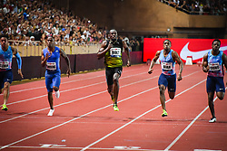 FONTVIEILLE, July 22, 2017  Usain Bolt (C) competes during the men's 100m final at the IAAF Diamond League Monaco in Fontvieille, Monaco, on July 21, 2017. Usain Bolt won the gold medal with 9.95 seconds. (Credit Image: © Stephane Danna/Xinhua via ZUMA Wire)