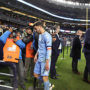 NEW YORK, NEW YORK - November 06: David Villa #7 of New York City FC leaves the field after his sides 5-0 loss during the NYCFC Vs Toronto FC MLS playoff game at Yankee Stadium on November 06, 2016 in New York City. (Photo by Tim Clayton/Corbis via Getty Images)