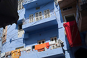 Clothes drying on a balcony in Jodhpur, referred to as the Sun City or the Blue City, Rajasthan, India