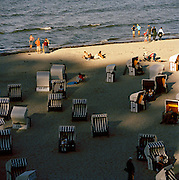 People at the beach on the Baltic coast at Gohren, on the island of Rugen, northern Germany