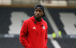 Brentford's Florian Jozefzoon arrives before Derby County's and Brentford's Sky Bet Championship match at Pride Park