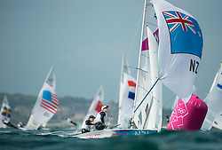 03.08.2012, Bucht von Weymouth, GBR, Olympia 2012, Segeln, im Bild Aleh Jo, Powrie Olivia, (NZL, 470 Women) // during Sailing, at the 2012 Summer Olympics at Bay of Weymouth, United Kingdom on 2012/08/03. EXPA Pictures © 2012, PhotoCredit: EXPA/ Juerg Kaufmann ***** ATTENTION for AUT, CRO, GER, FIN, NOR, NED, POL, SLO and SWE ONLY!