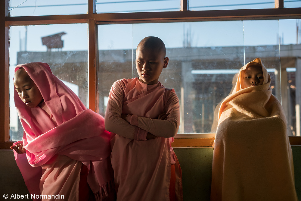Young Nuns at Padonmar Sari Nunnery study and pray, Taunggyi, Myanmar