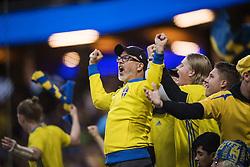 June 9, 2017 - Stockholm, SVERIGE - 170609 Sveriges supportrar jublar under fotbollsmatchen i VM-kvalet mellan Sverige och Frankrike den 9 juni 2017 i Stockholm  (Credit Image: © Johanna Lundberg/Bildbyran via ZUMA Wire)