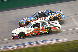 July 13, 2018 - Sparta, Kentucky, United States of America - John Hunter Nemechek (42) and Kyle Busch (18) battle for position during the Alsco 300 at Kentucky Speedway in Sparta, Kentucky. (Credit Image: © Chris Owens Asp Inc/ASP via ZUMA Wire)