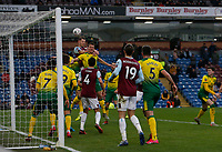 Football - 2019 / 2020 Emirates FA Cup - Fourth Round: Burnley vs. Norwich City<br /> <br /> James Tarkowski of Burnley rises to win a header from a Burnley corner, at Turf Moor.<br /> <br /> COLORSPORT/ALAN MARTIN