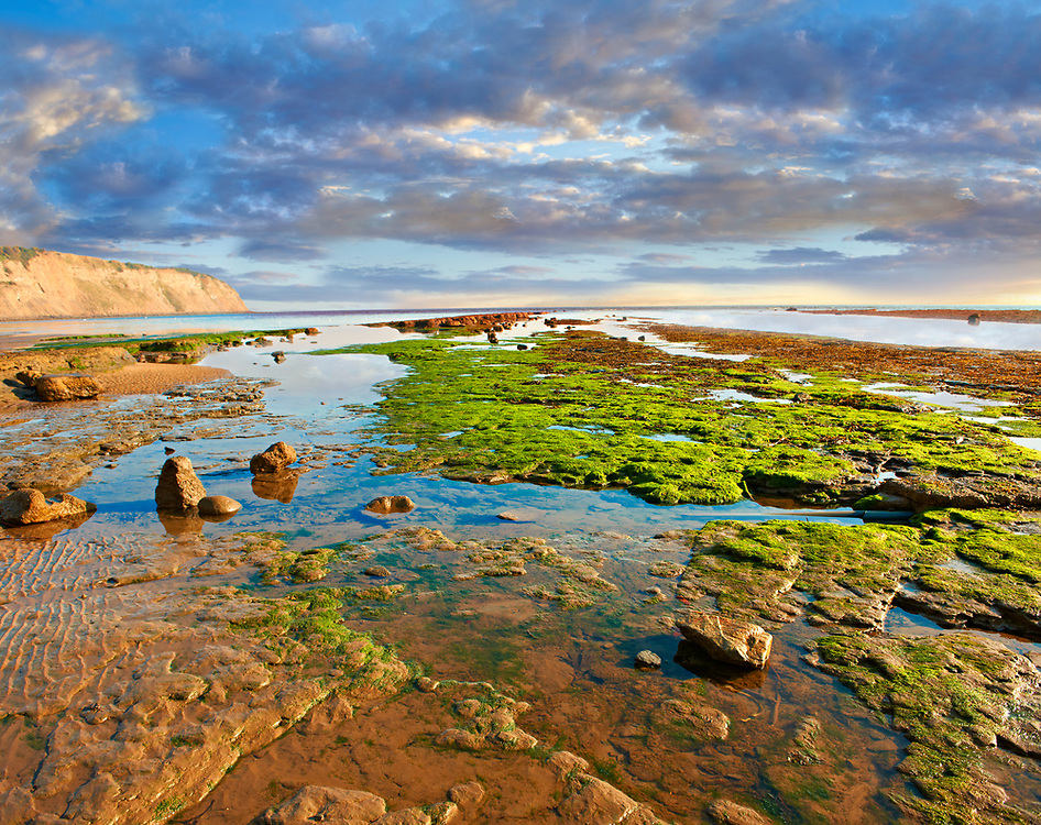 Rock pools on the beach of the historic fishing village of Robin Hood's Bay, Near Whitby, North Yorkshire, England. .<br /> <br /> Visit our ENGLAND PHOTO COLLECTIONS for more photos to download or buy as wall art prints https://funkystock.photoshelter.com/gallery-collection/Pictures-Images-of-England-Photos-of-English-Historic-Landmark-Sites/C0000SnAAiGINuEQ
