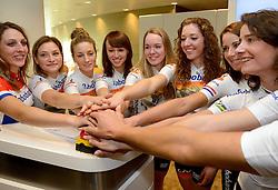 13-01-2014 WIELRENNEN: PRESENTATIE RABOBANK LIV DAMESTEAM 2014: UTRECHT<br /> In het hoofdkantoor van Rabobank Nederland werd het Rabo damesteam gepresenteerd <br /> ©2014-FotoHoogendoorn.nl
