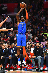 March 8, 2019 - Los Angeles, CA, U.S. - LOS ANGELES, CA - MARCH 08: Oklahoma City Thunder Forward Jerami Grant (9) shoots a three pointer during a NBA game between the Oklahoma City Thunder and the Los Angeles Clippers on March 8, 2019 at STAPLES Center in Los Angeles, CA. (Photo by Brian Rothmuller/Icon Sportswire) (Credit Image: © Brian Rothmuller/Icon SMI via ZUMA Press)