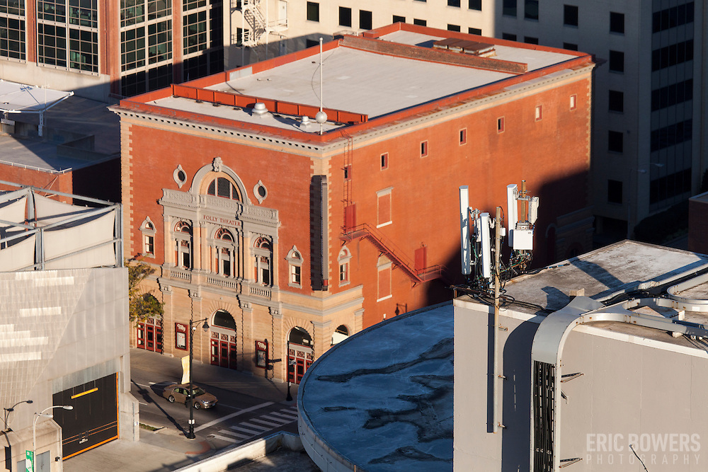 High angle view of Folly Theatre, downtown Kansas City. Taken from Power & Light Building.