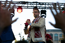Oct 21, 2019; Sacramento, CA, USA; Matt Alvarez, an investor with the Sacramento Republic FC, throws merchandise to the crowd during a fan celebration event for the new MLS soccer team at Capital Mall. Mandatory Credit: D. Ross Cameron-USA TODAY Sports