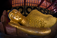 Reclining Buddha, Wat Chedi Luang (Buddhist temple), Chiang Mai, Northern Thailand