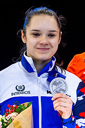 13-01-2019 NED: ISU European Short Track Championships 2019 day 3, Dordrecht<br /> Sofia Prosvirnova of Russia pose in the Ladies overall classification medal ceremony during the ISU European Short Track Speed Skating Championships
