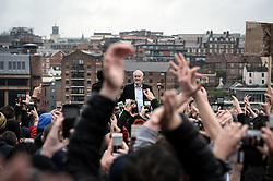 © Licensed to London News Pictures. 05/06/2017. Newcastle Upon Tyne, UK. Jeremy Corbyn MP, Leader of the Labour Party, arrives on stage to speak to a crowd of hundreds of his supporters who waited in the rain to hear him speak outside the Sage in Gateshead. Mr Corbyn spent one of the final days of the campaign trail in the Labour heartlands of North-East England before voters go to the polls in the UK General Election on June 8th 2017. Photo credit: MARY TURNER/LNP