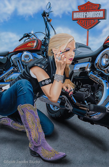 """""""Finishing Touch""""<br /> Painting by Scott Jacobs 2013<br /> <br /> A close family friend, Sarah Campbell, modeled<br /> for this piece which has been one of Scotts most<br /> well known images."""