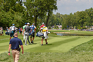 Jordan Spieth (USA), Jon Rahm (ESP), and Justin Rose (GBR)   head down 2 during 1st round of the 100th PGA Championship at Bellerive Country Club, St. Louis, Missouri. 8/9/2018.<br /> Picture: Golffile | Ken Murray<br /> <br /> All photo usage must carry mandatory copyright credit (© Golffile | Ken Murray)
