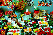 Farmers market at the State Fair displaying the summers harvest.  St Paul Minnesota USA