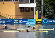 Poznan, POLAND, 23rd June 2019, Sunday,  Finish of the Women's Single Sculls Final, World Rowing Cup II, Malta Lake Course, © Peter SPURRIER/Intersport Images, <br /> Gold Medalist, NZL W1X, Emma TWIGG, Silver Medalist,  AUT W1X Magdalena LOBNIG Bronze Medalist CAN W1X, Carling ZEEMAN, and Fourth, USA W1X  Kara KOHLER, <br /> <br /> 14:24:11