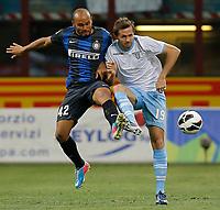 """Jonathan Inter, Senad Lulic Lazio, Milano 8/5/2013 .Stadio """"S.Siro"""".Football Calcio 2012/2013 Serie A.Inter Vs Lazio.Foto Marco Bertorello Insidefoto"""